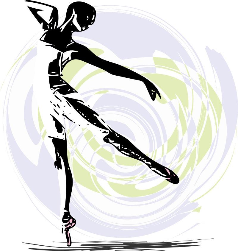 矢量美丽芭蕾舞者跳跃舞曲