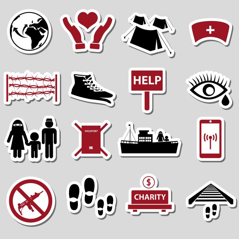 难民主题贴纸矢量设计