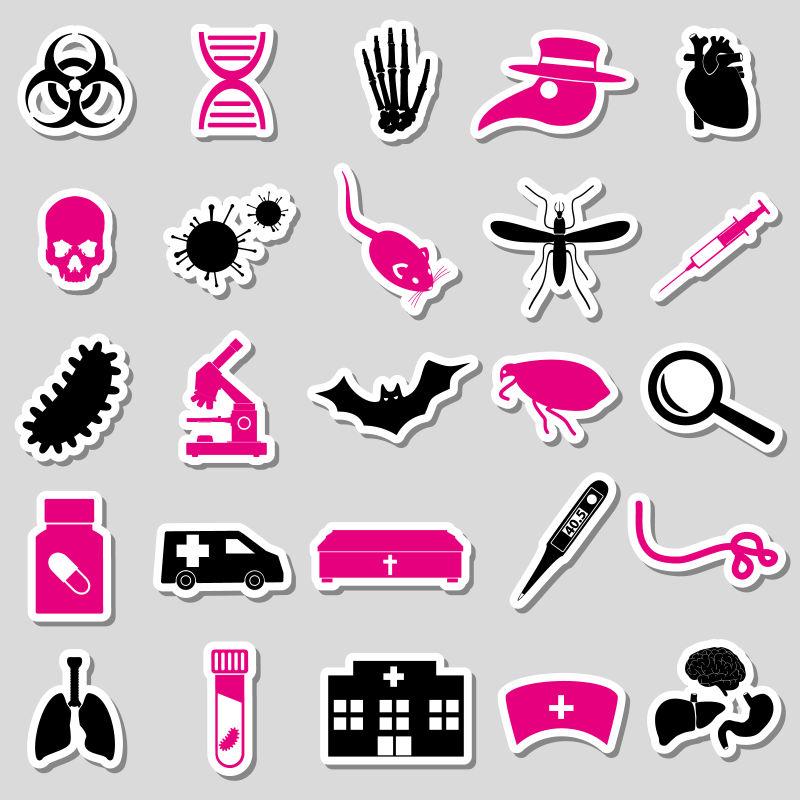 瘟疫与疾病主题贴纸矢量设计