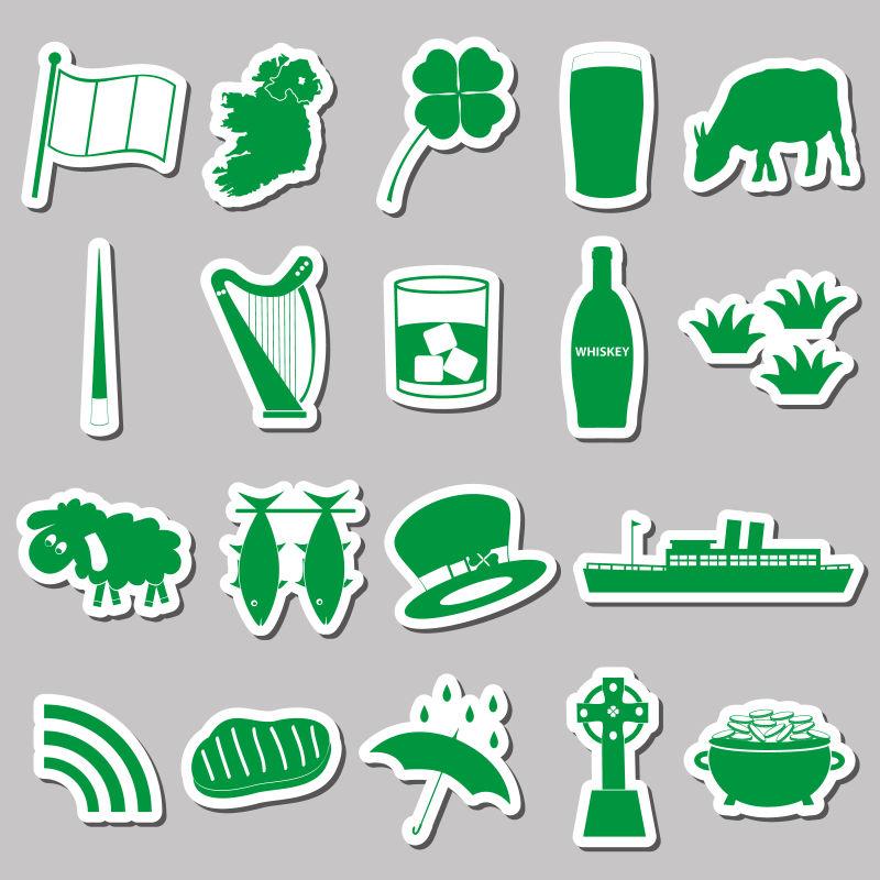 绿色乡村主题贴纸矢量设计
