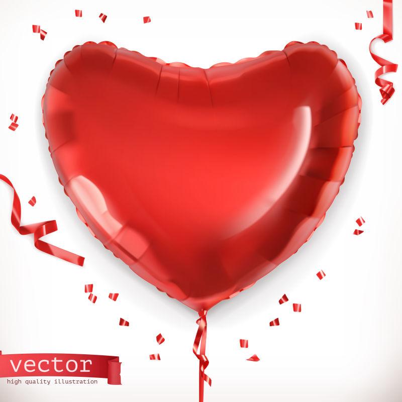 红色心形气球矢量设计
