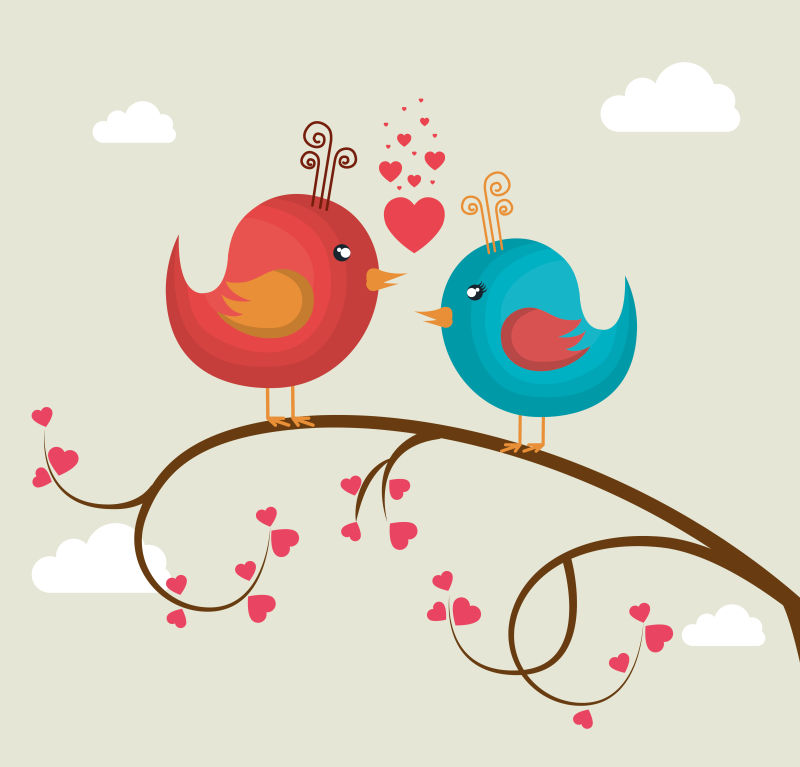 矢量情人节彩色小鸟插图设计