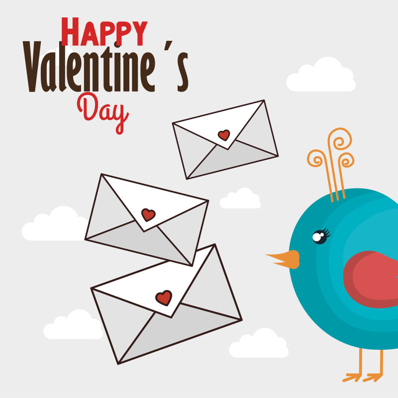 情人节信封和小鸟插图矢量设计
