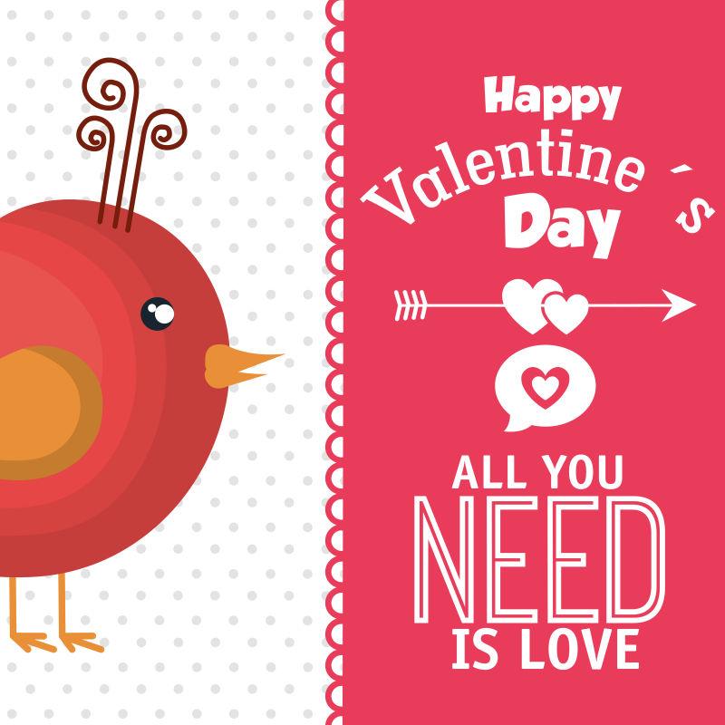 矢量的情人节红色小鸟插图