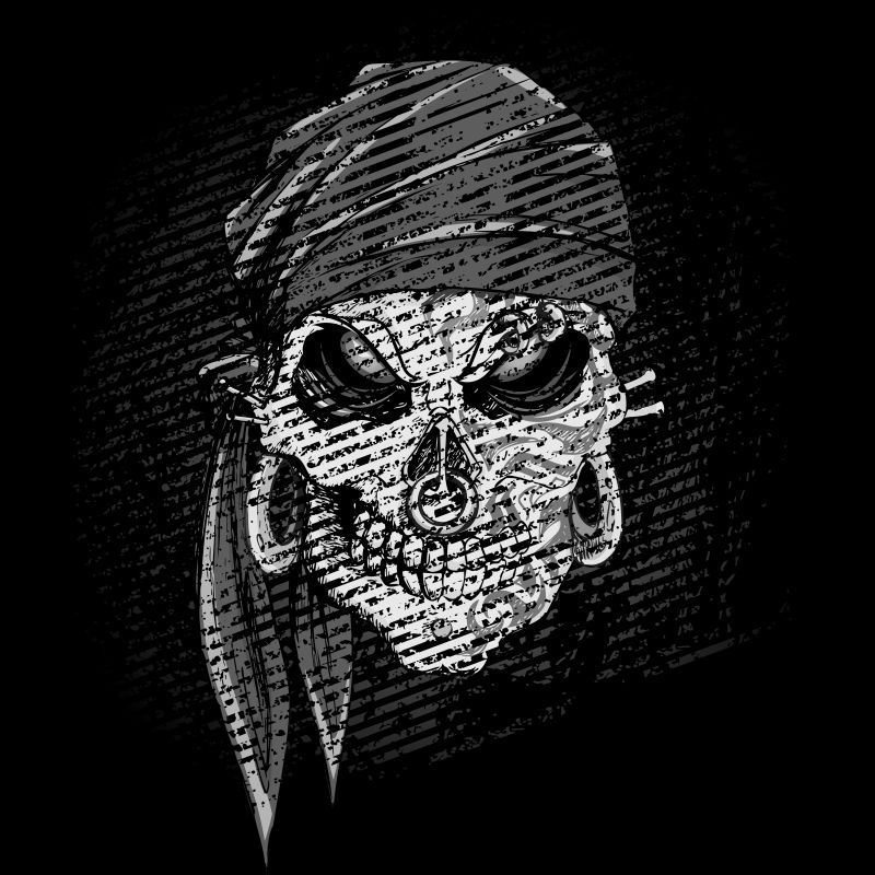 抽象矢量素描风格的海盗头骨插图
