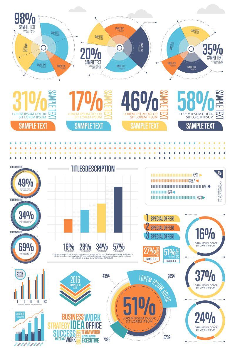 矢量设计商业统计图表