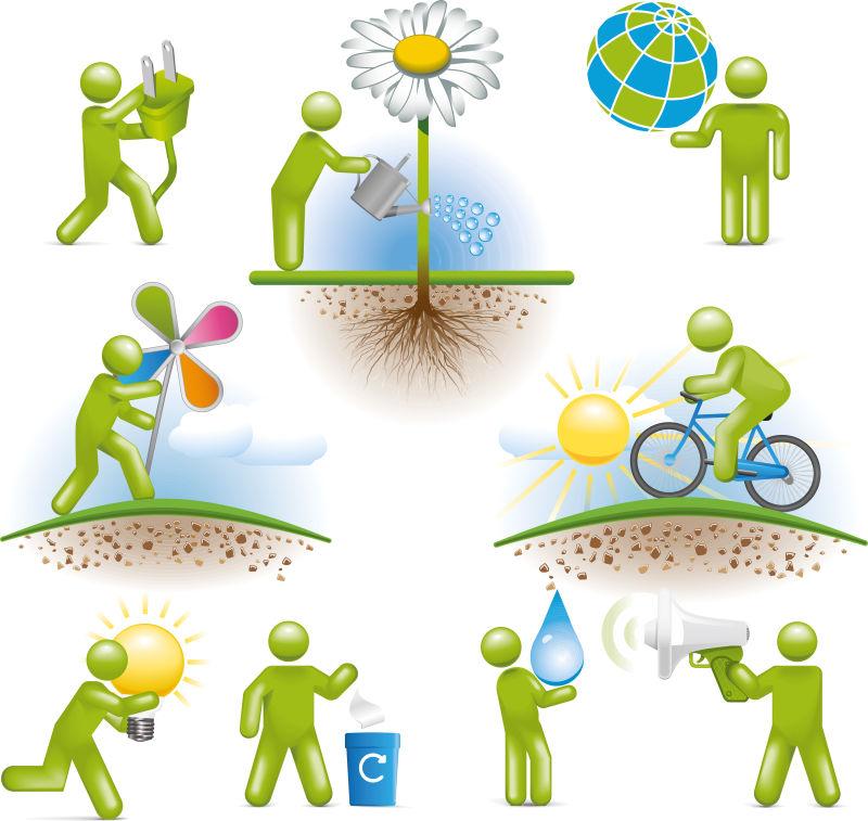 环境保护概念插图矢量设计