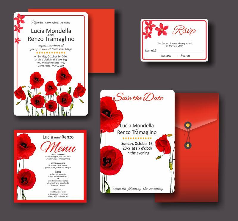 创意矢量红色花朵元素的婚礼请帖设计