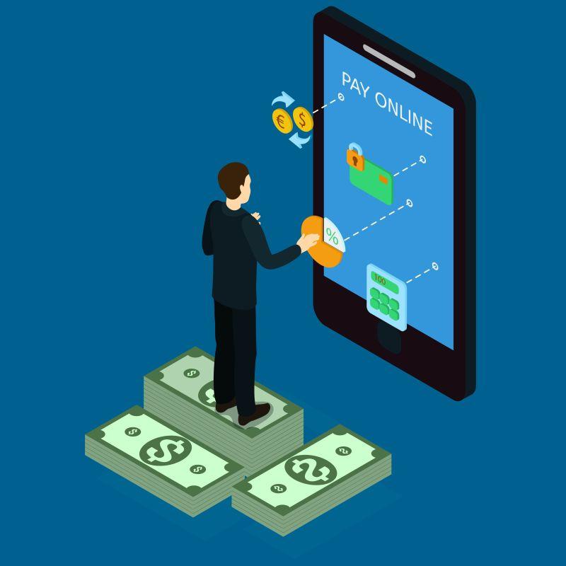互联网银行等值概念矢量等距插图
