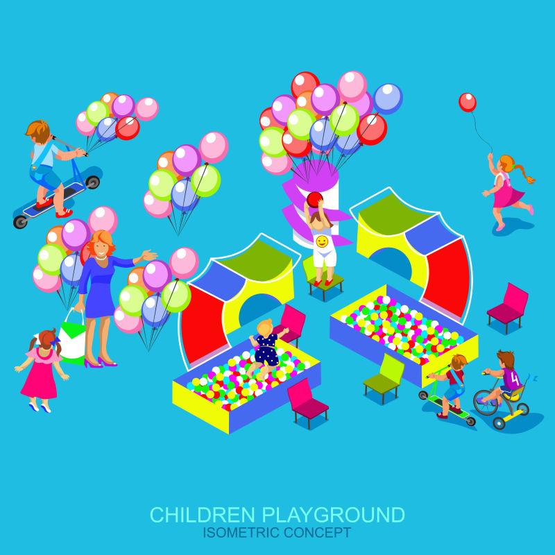 儿童游乐场矢量等距插图