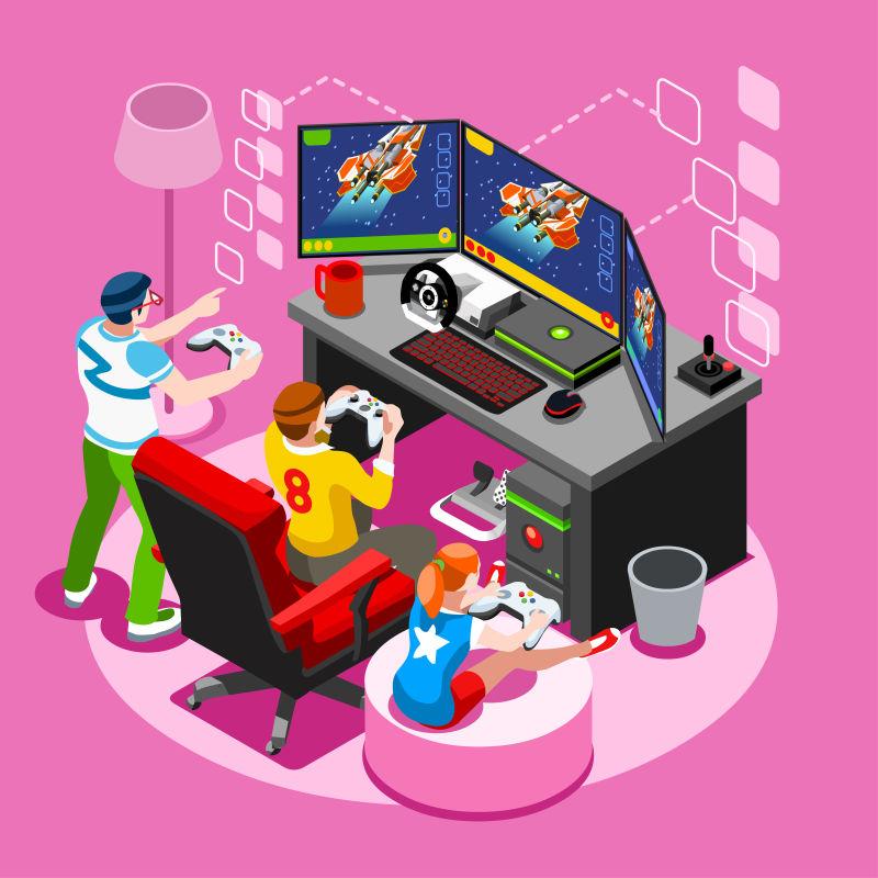 玩家在玩视频游戏等距矢量插图