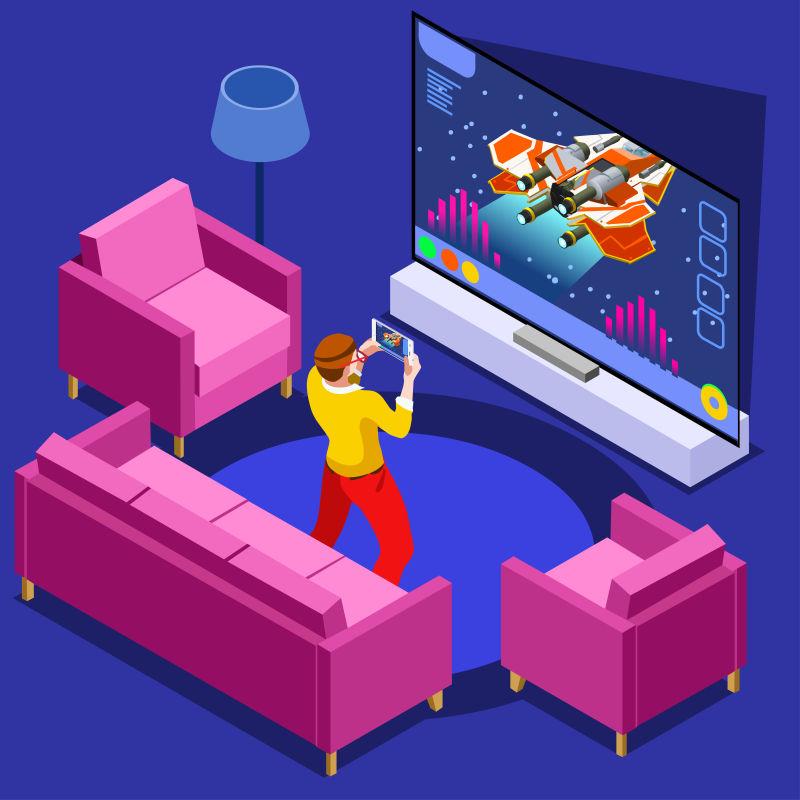 视频游戏和玩家等距矢量插图