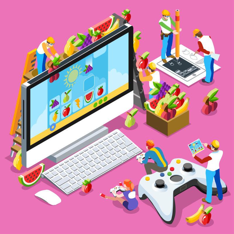视频游戏创意等距矢量插图