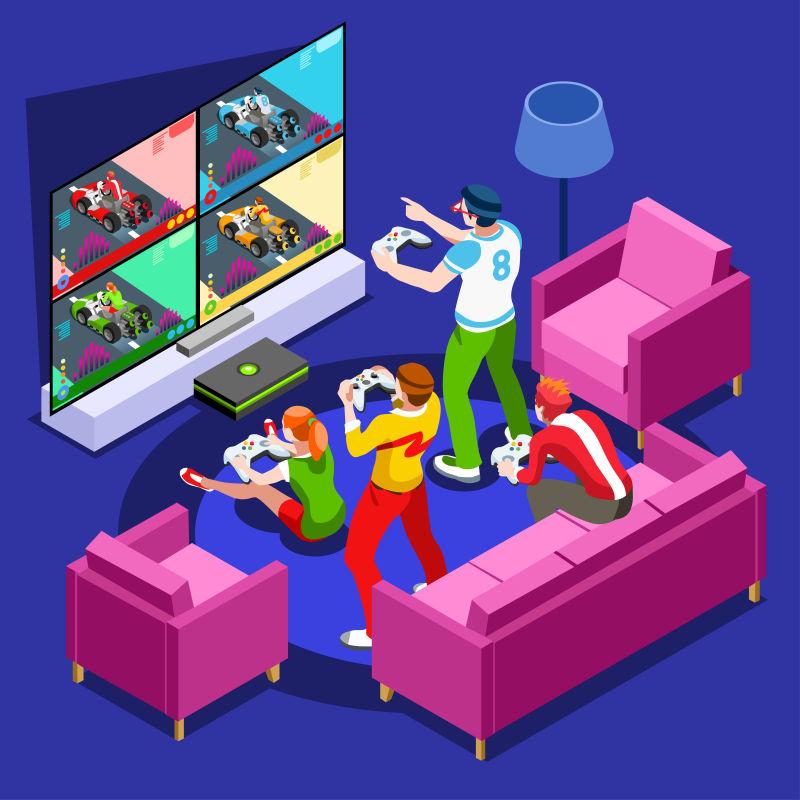 一起玩游戏的玩家伙伴矢量插图
