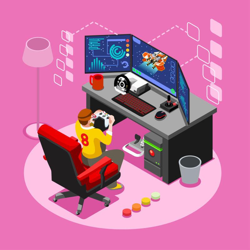 电脑游戏玩家矢量插图