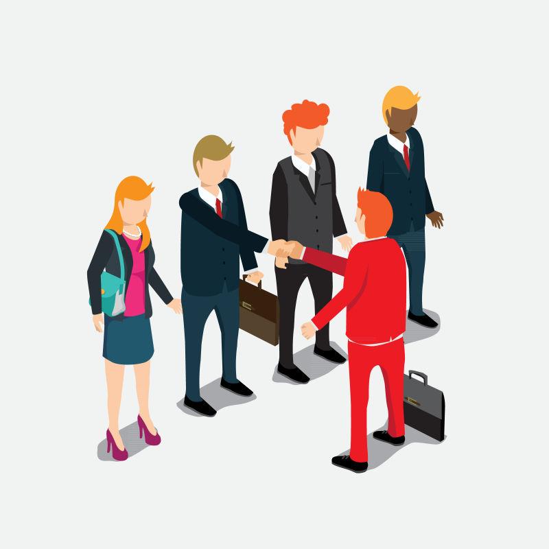 握手协议的商人等距创意矢量插图