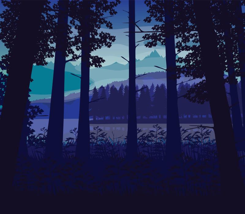 创意矢量静谧的森林卡通插图