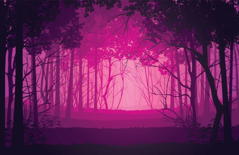 矢量抽象粉色迷雾中的森林景观插图