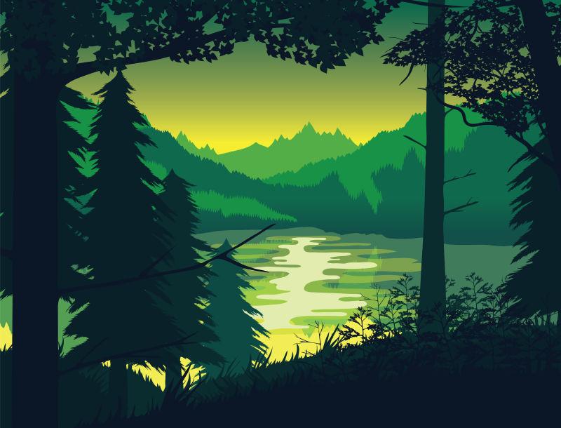 抽象矢量日落下的森林插图