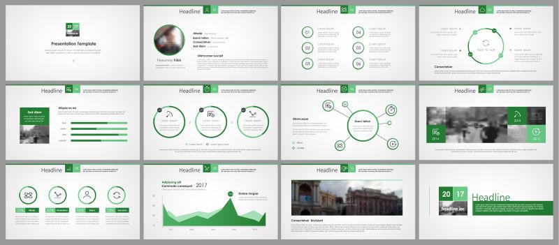 极简设计信息元素的绿色元素的矢量