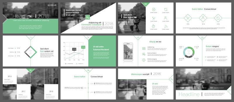 极简设计信息元素的绿色元素矢量