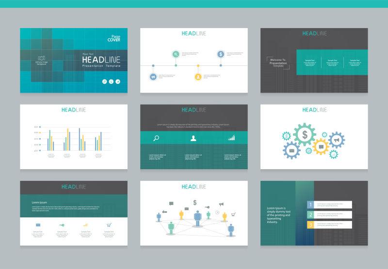 商业PowerPoint演示背景设计矢量