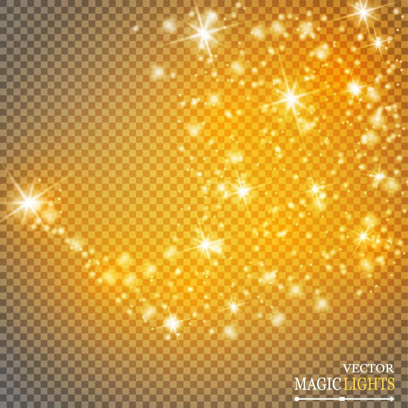 抽象矢量金色闪烁星星插图