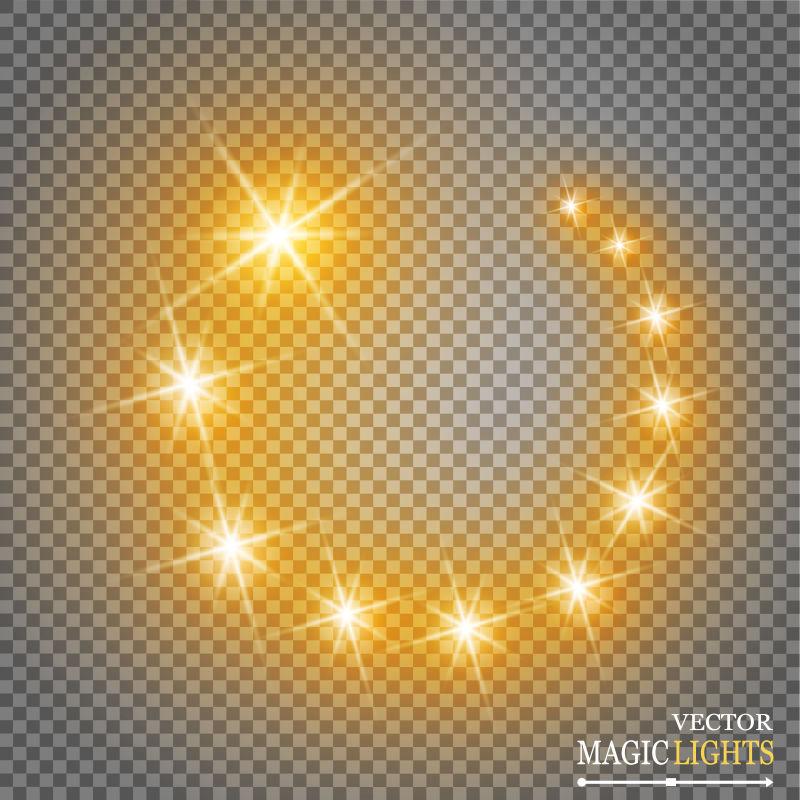 抽象矢量闪烁星光设计元素