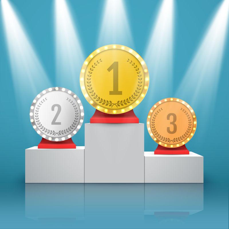 颁奖台上的奖牌矢量插图