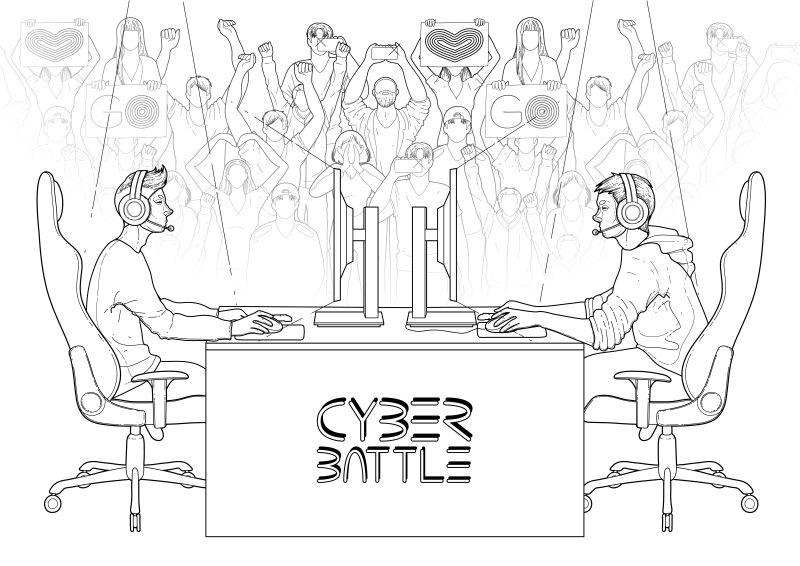 矢量两个电脑玩家坐在桌子对面一群欢呼的球迷在后台