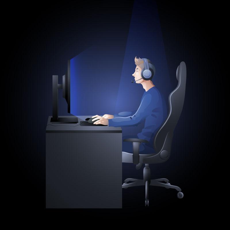 矢量正在玩电脑的家伙