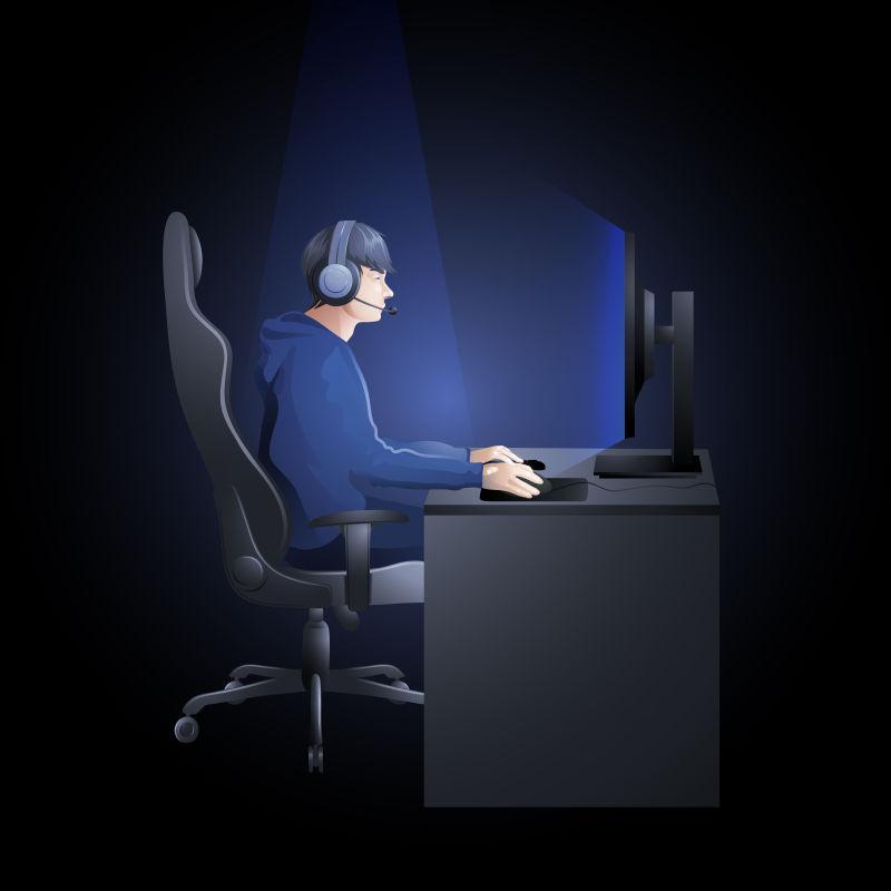 矢量年轻人男孩坐在桌旁玩电脑游戏