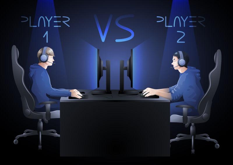 矢量两个电脑选手坐在桌子对面比赛