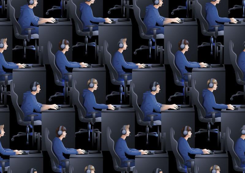 矢量年轻人坐在桌旁玩电脑游戏