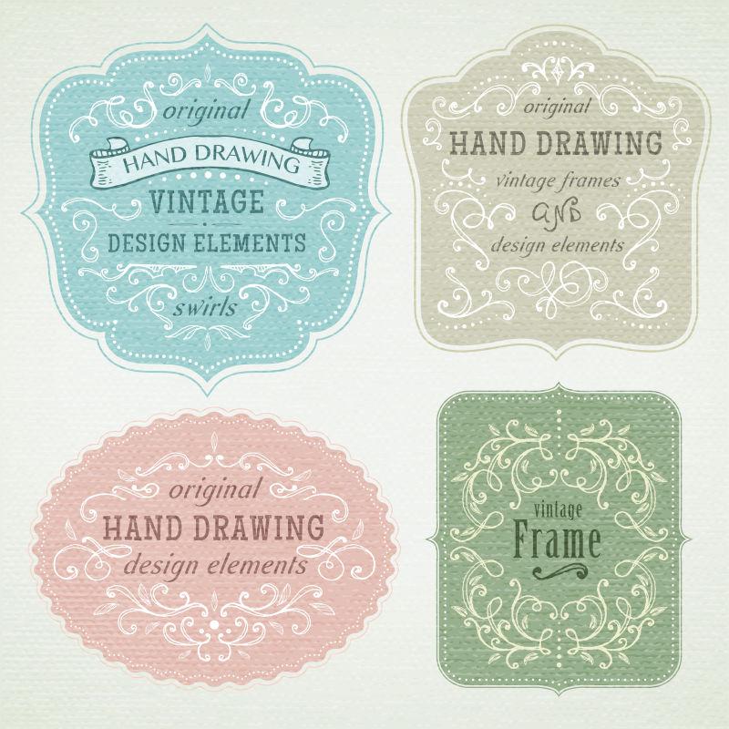 创意矢量手绘复古风格的边框标签设计