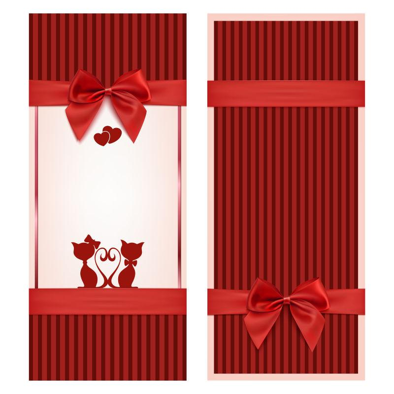 拥有红色蝴蝶结和丝带装饰的矢量插图
