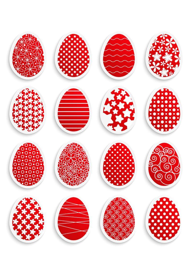 排列整齐的红色的复活节彩蛋矢量插图