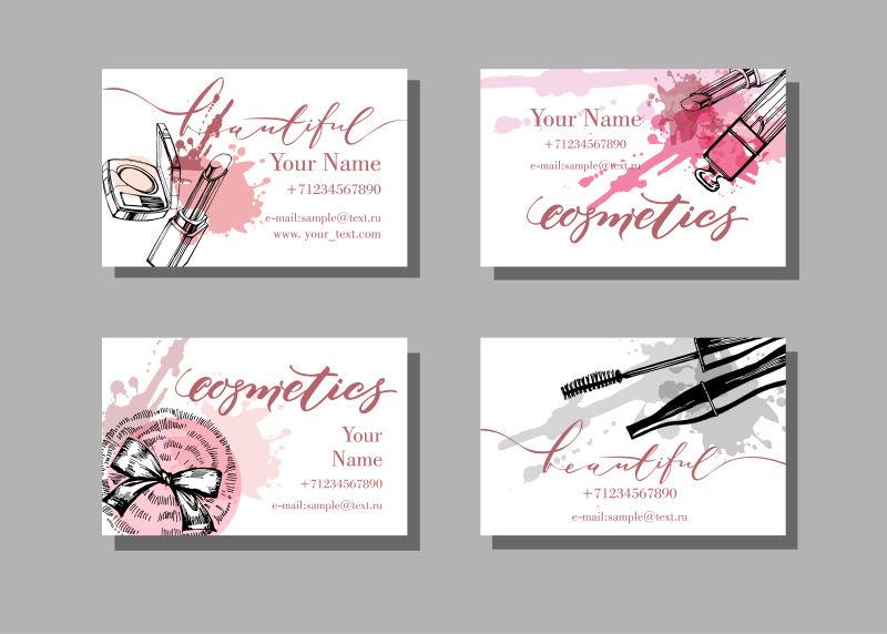 创意矢量化妆品元素的现代名片设计
