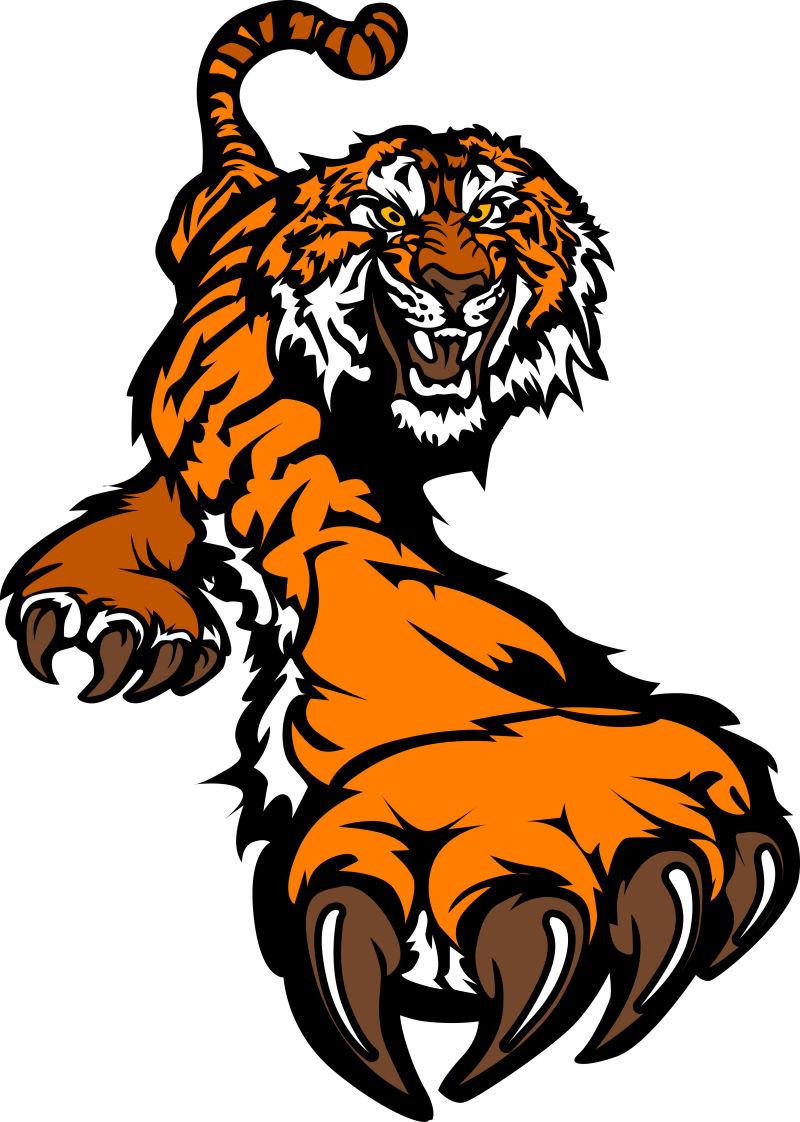 抽象矢量潜行的老虎插图
