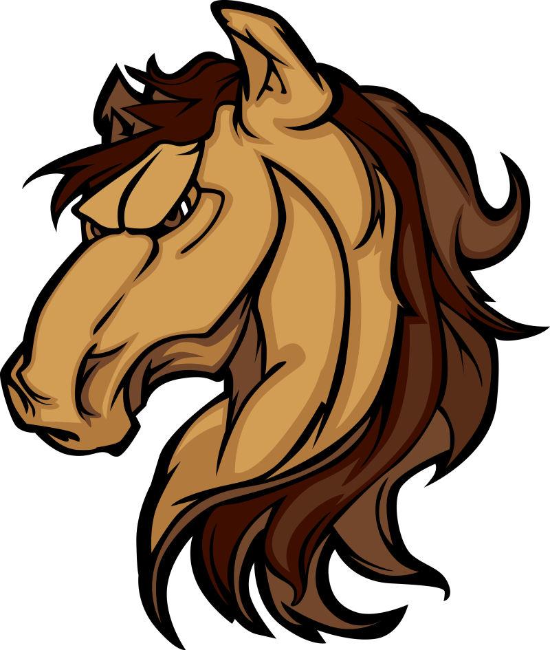 抽象矢量棕色野马设计插图
