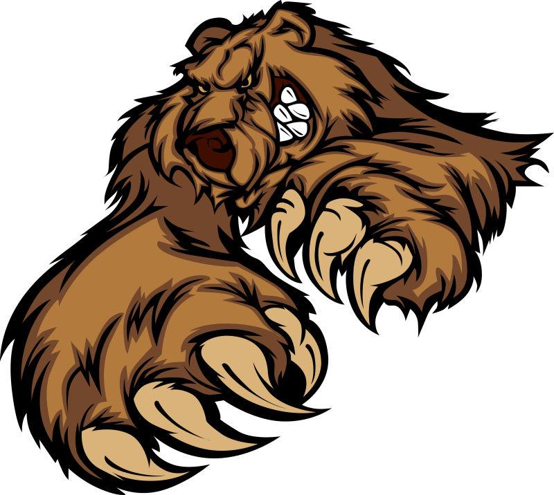 抽象矢量棕熊设计平面插图