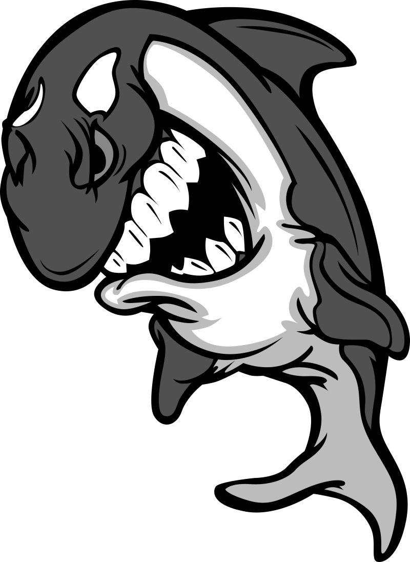 抽象矢量虎鲸卡通插图