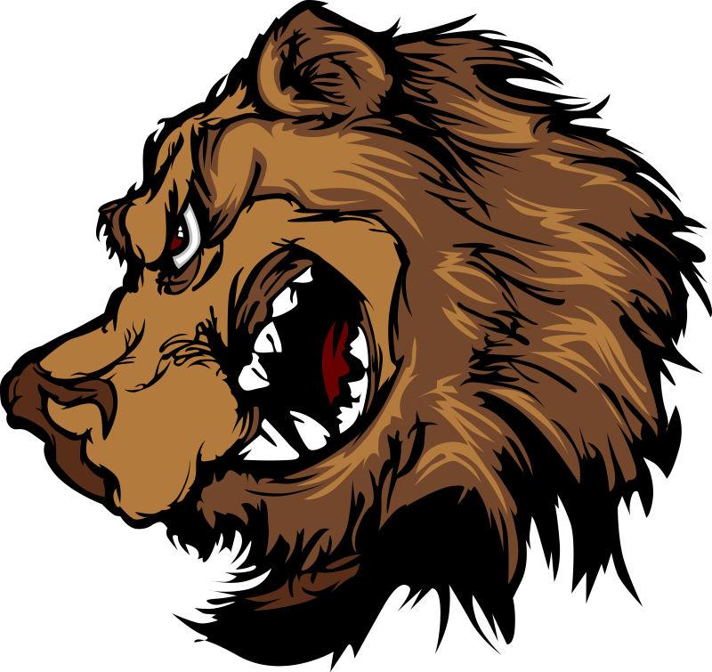 抽象矢量卡通棕熊插图