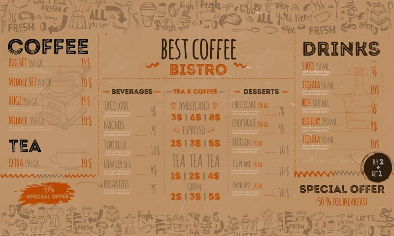 抽象矢量手绘食品元素的菜单设计