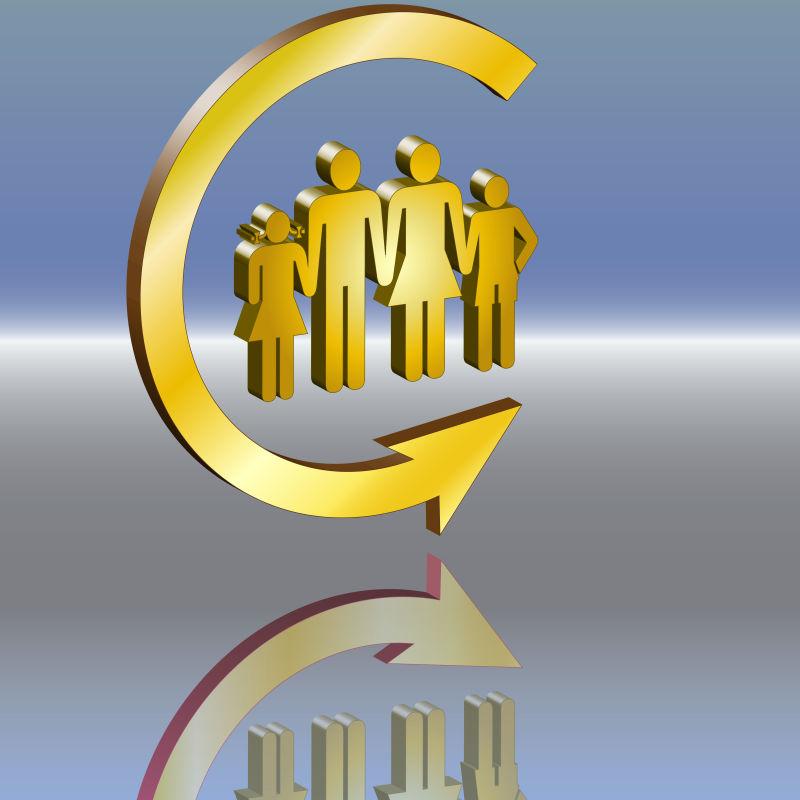 抽象矢量现代金色监听概念标志设计