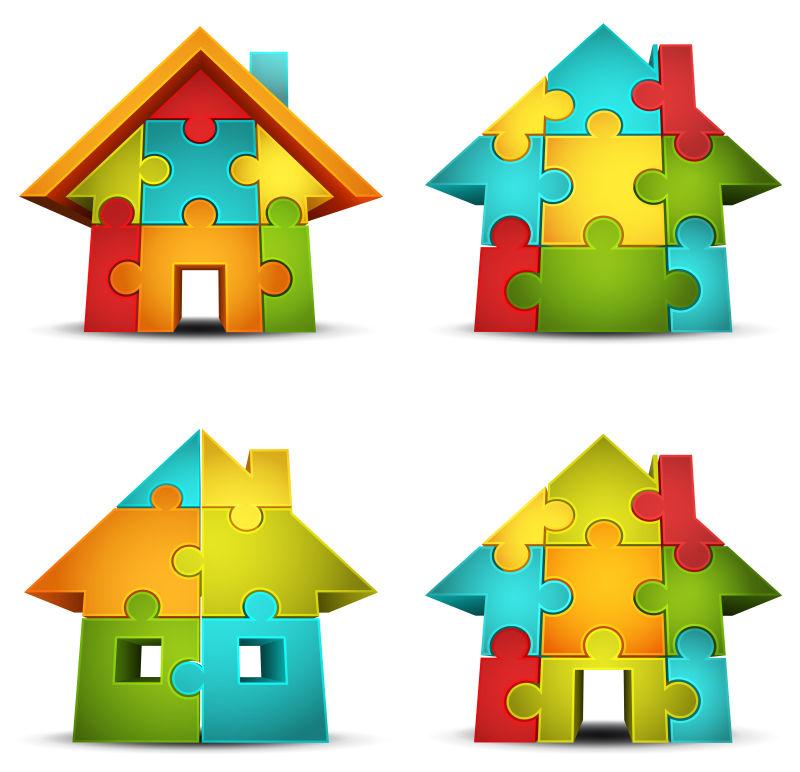 抽象矢量拼图风格的房屋图标设计