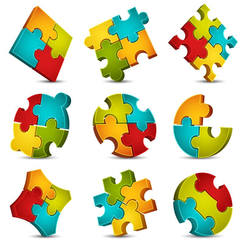 抽象彩色拼图元素的矢量图标