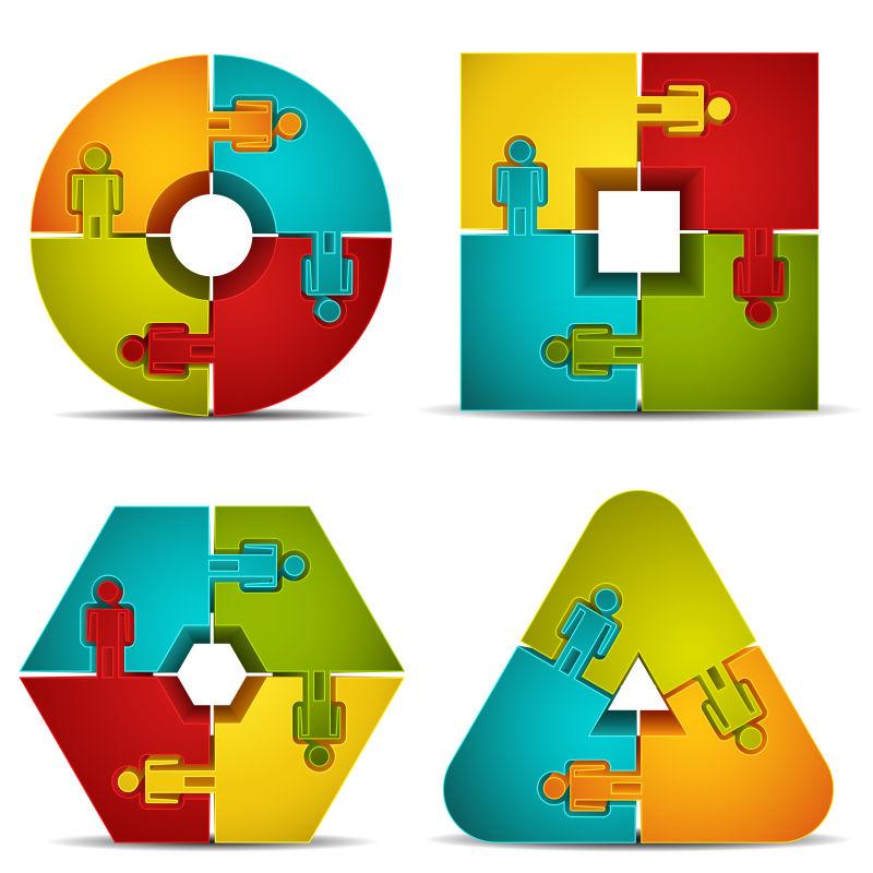 抽象矢量拼图风格的图标设计