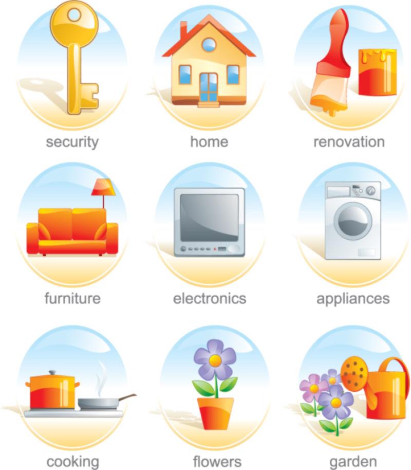 抽象矢量房屋相关的图标设计