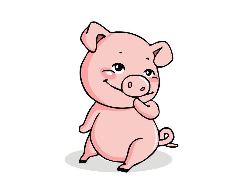 可爱的小猪矢量插图